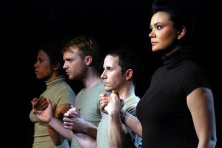 Na fotografiji: Maša Kagao Knez, Rok Matek, Miha Brajnik in Alja Kapun Foto: Peter Uhan