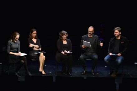 Na fotografiji: Iva Babić, Petra Govc, Barbara Žefran, Uroš Fürst in Jurij Zrnec Foto: Peter Uhan