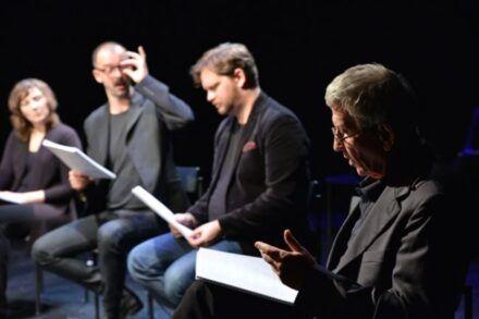 Na fotografiji: Barbara Žefran, Uroš Fürst, Jurij Zrnec in Marko Okorn Foto: Peter Uhan