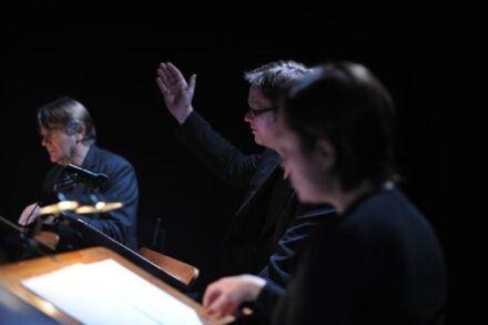 Na fotografiji Zvone Hribar, Jurij Zrnec in Nataša Barbara Gračner Foto: Peter Uhan