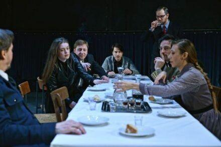 Na fotografiji: Branko Šturbej, Nina Ivanišin, Gregor Baković, Saša Tabaković, Jurij Zrnec, Rok Vihar in Alida Bevk Foto: Peter Uhan