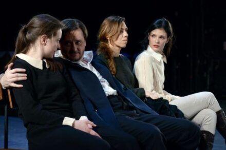 Na fotografiji: Nina Ivanišin, Branko Šturbej, Alida Bevk in Tina Vrbnjak Foto: Peter Uhan