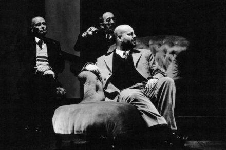 Dostojevski: Idiot. 1999/2000 / Na fotografiji: Boris Juh, Brane Grubar in Jernej Šugman Foto: Tone Stojko